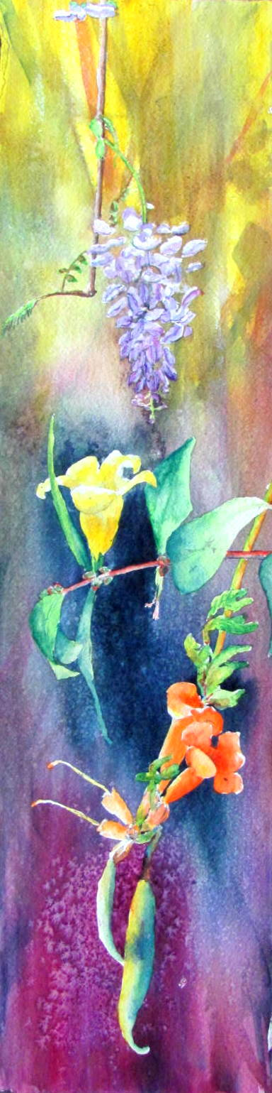 Texas spring vines 8 x 30 water color